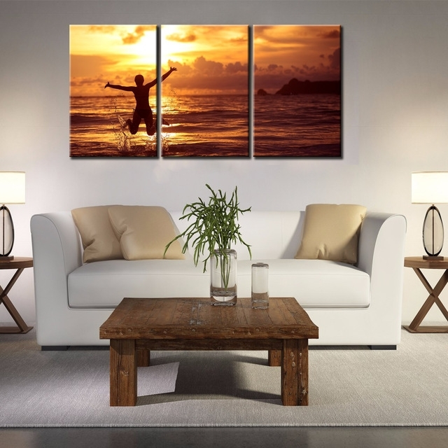 Aliexpress : Buy 3 Panels Canvas Jumping And Hug The Ocean Pertaining To Jump Canvas Wall Art (View 12 of 15)