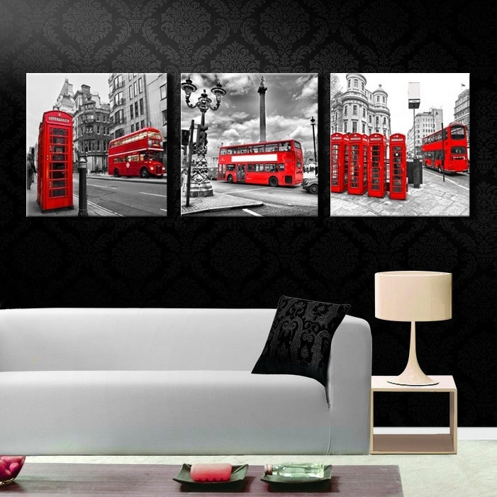 Aliexpress : Buy 3 Pieces/set Modern Wall Art Printed Canvas Inside Canvas Wall Art Of London (Image 3 of 15)