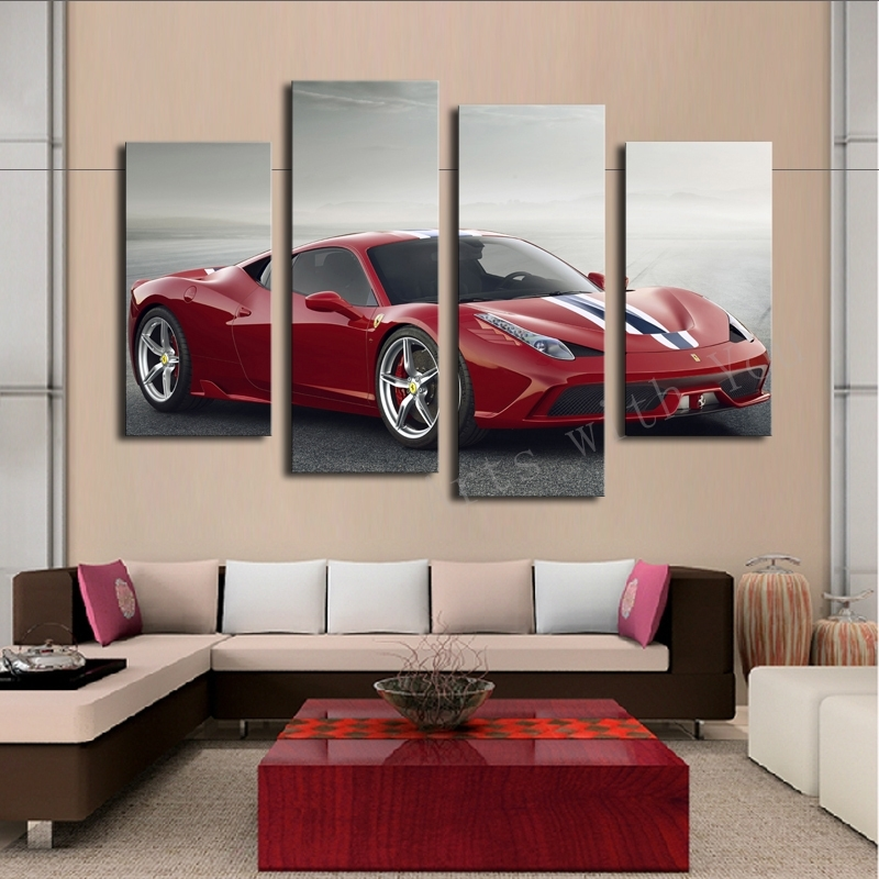 Aliexpress : Buy 4 Pcs White Sports Car Wall Art Painting Home With Regard To Cars Theme Canvas Wall Art (Image 3 of 16)