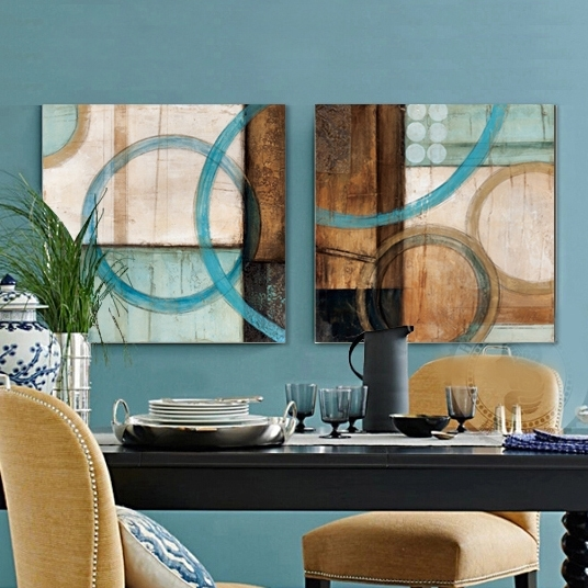 Aliexpress : Buy Blue And Brown Circles Modern Abstract Oil For Happiness Abstract Wall Art (View 11 of 15)