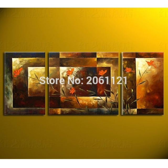 Aliexpress : Buy Hand Painted Big Size 3Pcs/set Abstract Wall With Regard To Murals Canvas Wall Art (View 15 of 15)