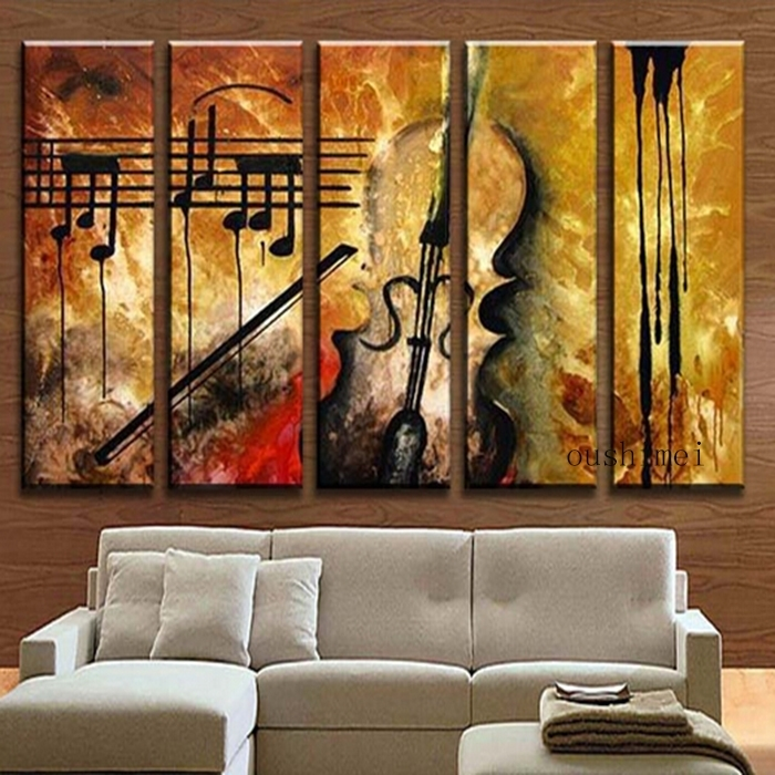 Aliexpress : Buy Hand Painted Music Paintings For Living Room For Abstract Music Wall Art (Image 3 of 15)