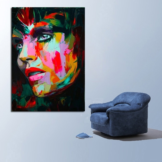 Aliexpress : Buy Handpainted Free Shipping Best Quality Modern With Portrait Canvas Wall Art (Image 2 of 15)