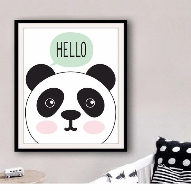 Aliexpress : Buy Kawaii Creative Posters Hello Panda Art Print Inside Modern Nursery Canvas Wall Art (Image 3 of 15)