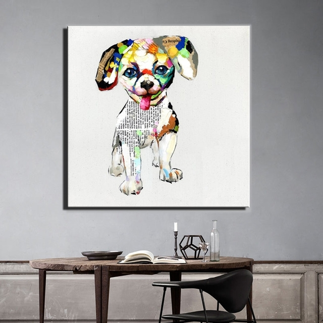 Aliexpress : Buy Large Size 70X70Cm Abstract Dogs Canvas Regarding Dogs Canvas Wall Art (View 11 of 15)