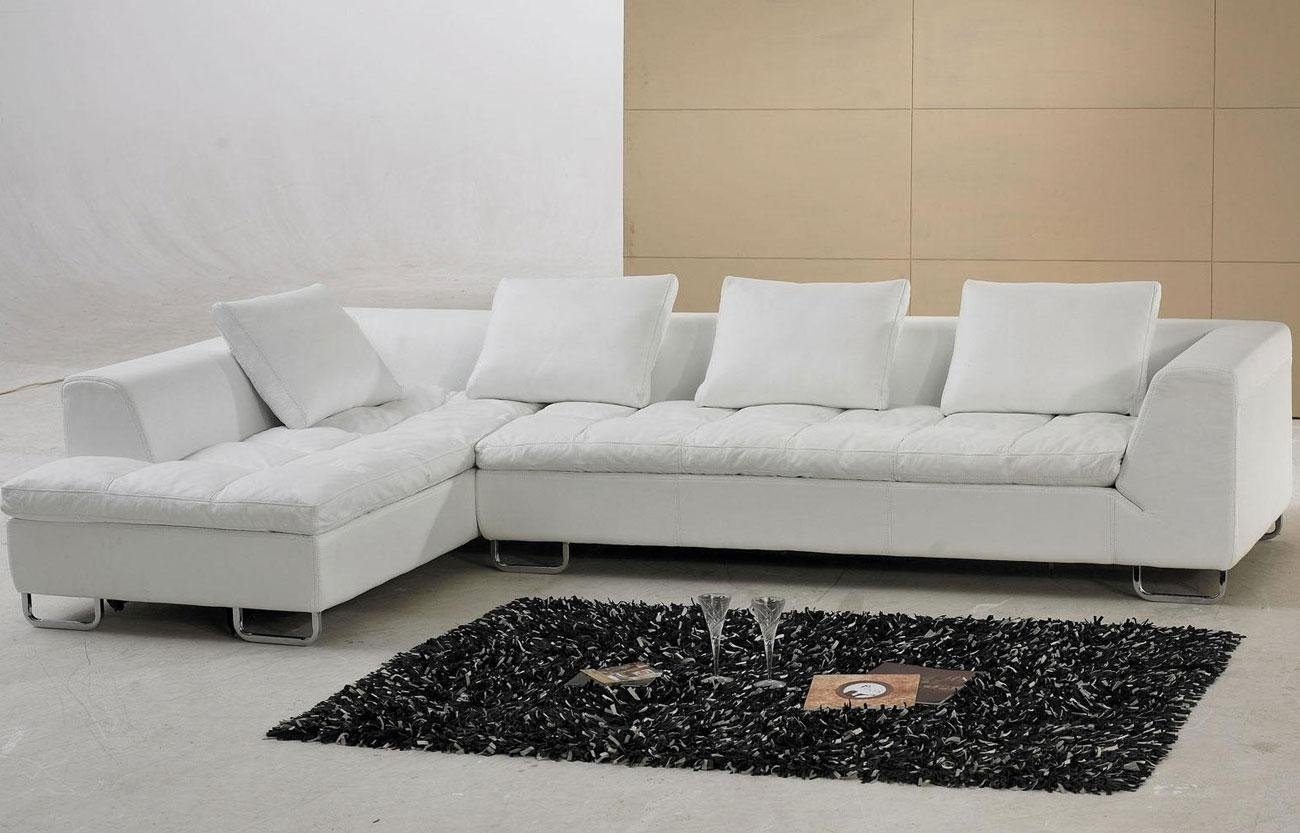 Alluring White Leather Sectional Sofa Ideas For Living Room Inside White Sectional Sofas (Image 1 of 10)
