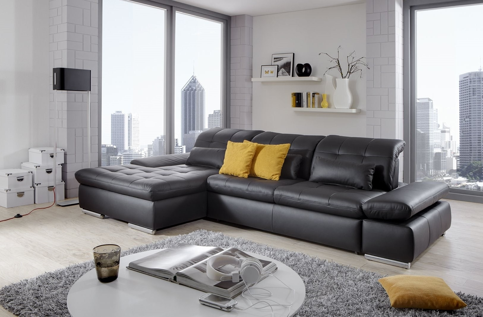Alpine Sectional Sofa In Black Leather Left Chaise Inside Trinidad And Tobago Sectional Sofas (View 9 of 10)