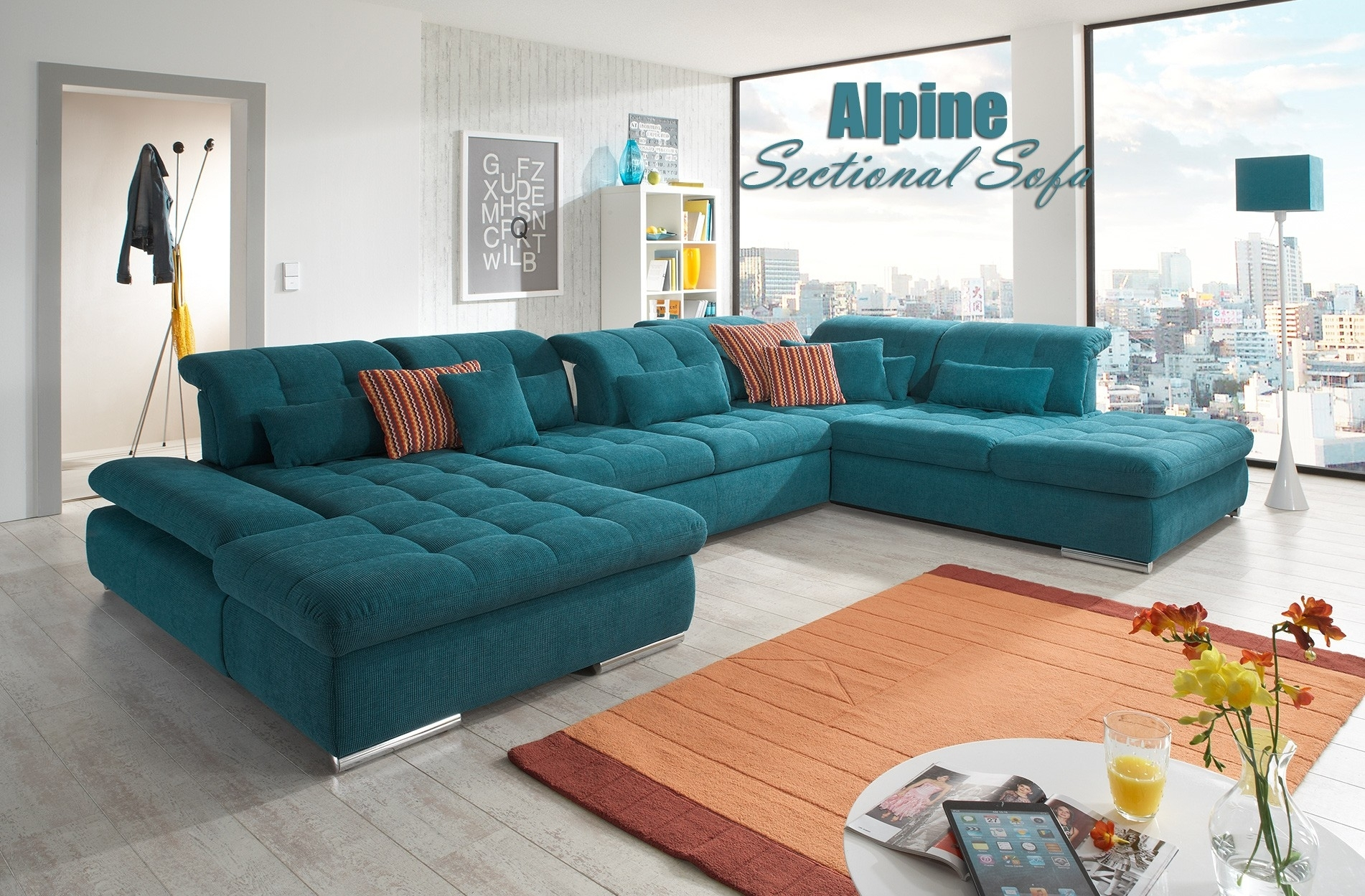 Alpine Sectional Sofa In Green Fabric Throughout Green Sectional Sofas (View 8 of 10)