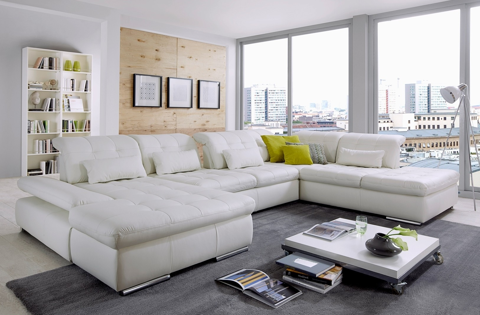 Alpine Sectional Sofa In Punch White Leather In Trinidad And Tobago Sectional Sofas (View 8 of 10)
