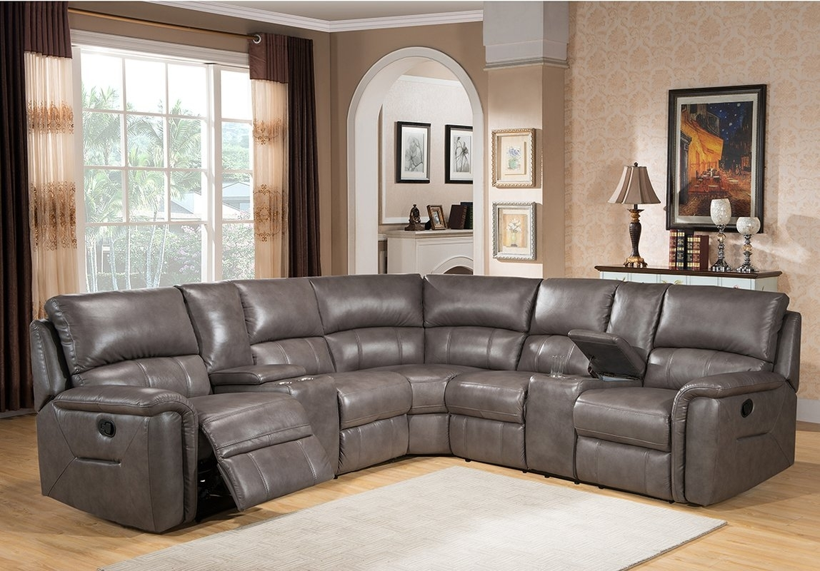 Amax Sacramento Leather Reclining Sectional & Reviews | Wayfair With Sacramento Sectional Sofas (View 9 of 10)