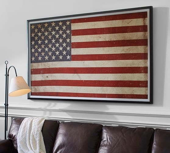 American Flag Framed Print | Pottery Barn Inside American Flag Fabric Wall Art (Image 2 of 15)