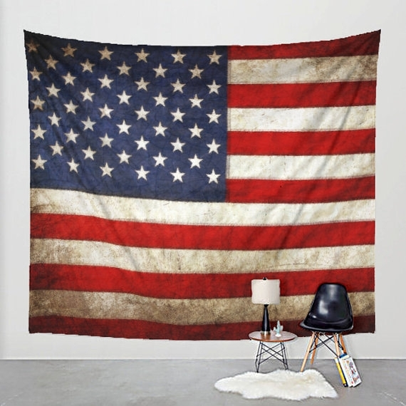 American Flag Tapestry Distressed Fabric Art Print Wall Inside American Flag Fabric Wall Art (Image 4 of 15)