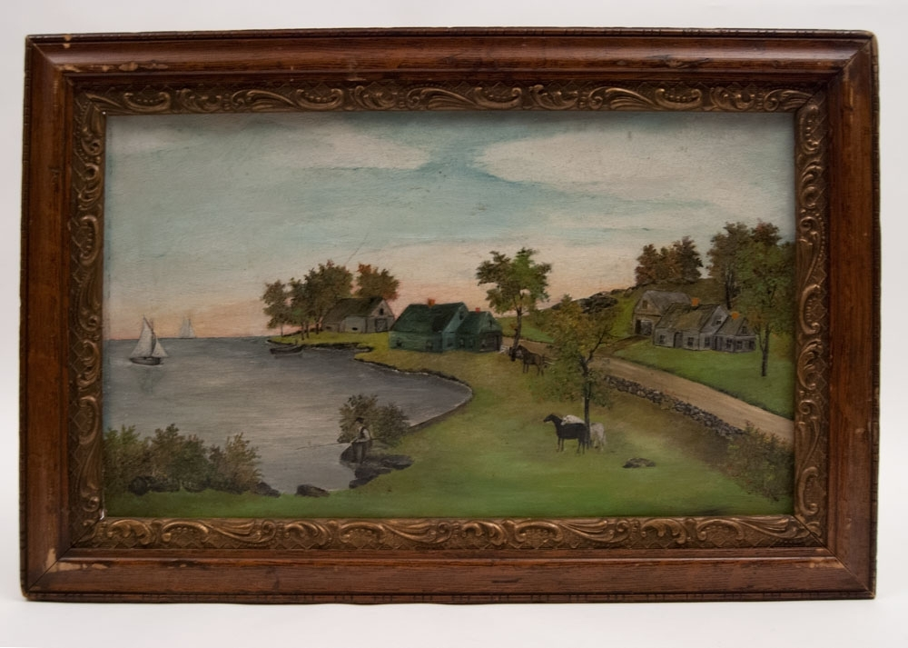 American Folk Art Painting Early 20Th Century Boston Mass W.f (View 5 of 15)