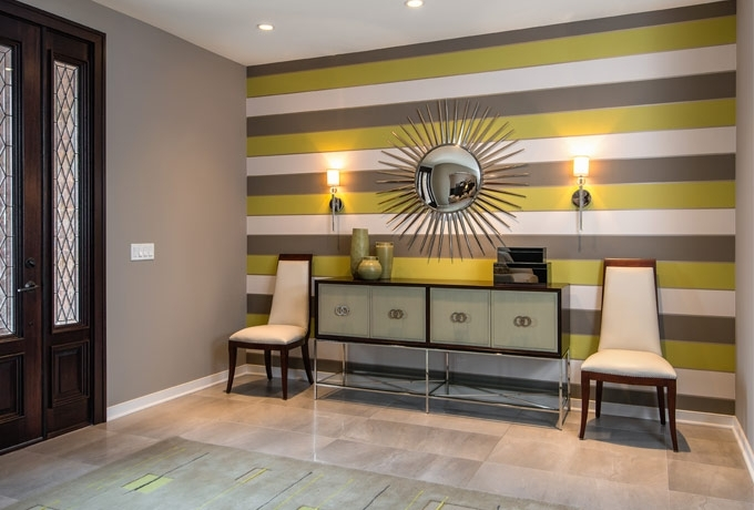 An Elegant, Contemporary Foyer With Bold Horizontal Striped Pertaining To Horizontal Stripes Wall Accents (Image 4 of 15)