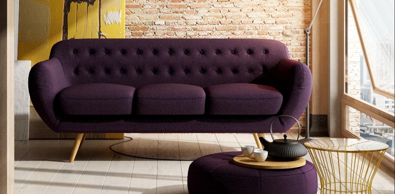 Anatol 3 Seater Retro Sofa – Fabric Sofas Within Retro Sofas (Image 3 of 10)