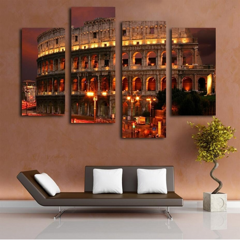 Ancient Rome Famous Building Oil Painting Wall Art Home Decoration Inside Canvas Wall Art Of Rome (Image 6 of 15)