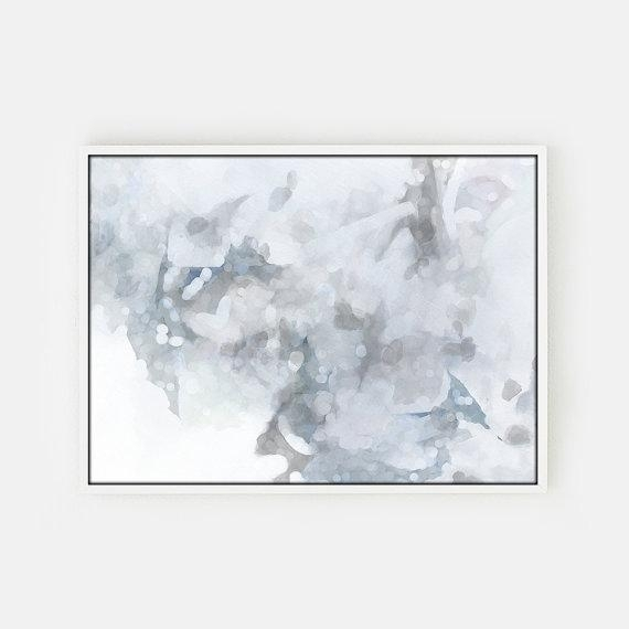 And White Abstract Unstretched Canvas Art Inside Gray Abstract Wall Art (Image 2 of 17)