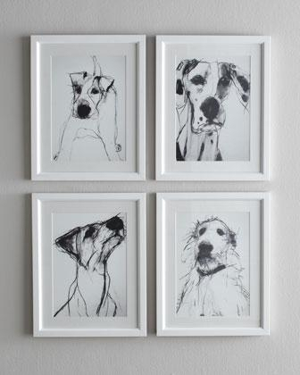 And White Dog Prints I Horchow For Dog Art Framed Prints (Image 6 of 15)