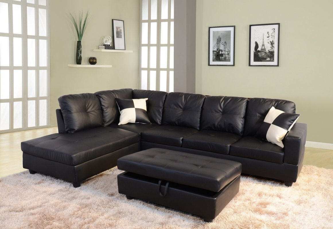Andover Mills Russ Sectional With Ottoman & Reviews | Wayfair Within Sectionals With Ottoman (Image 3 of 10)
