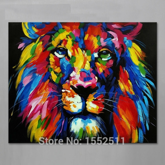 Animal Lion Painting On Canvas Acrylic Painting Wall Art Pictures Within Abstract Lion Wall Art (View 4 of 15)