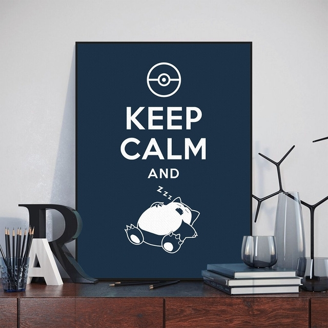 Anime Game Pokemon Snorlax Keep Calm Quote Painting On Canvas With Keep Calm Canvas Wall Art (View 13 of 15)
