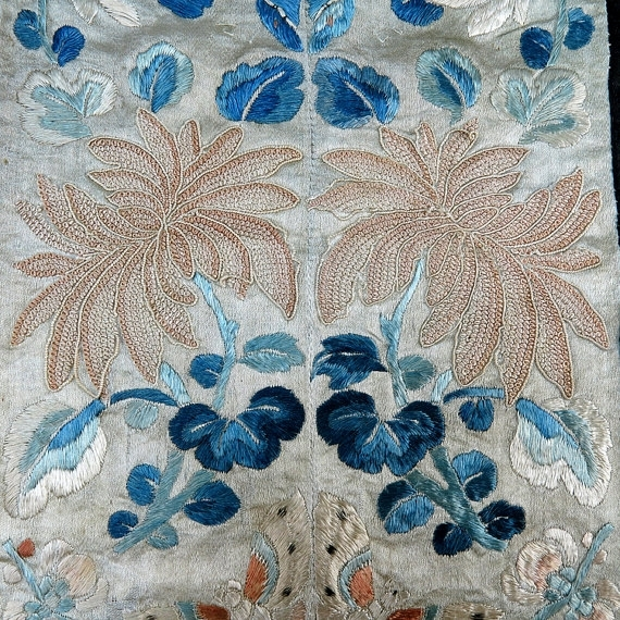 Antique Chinese Embroidered Textiles Wall Hanging Home Decor Old Intended For Asian Fabric Wall Art (Image 7 of 15)
