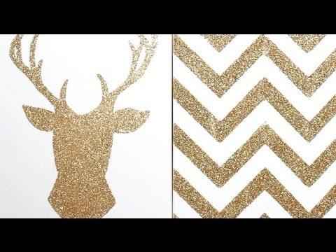 Apartment Decor Diy: Glitter Canvas Wall Art – Youtube Intended For Glitter Canvas Wall Art (Image 1 of 15)