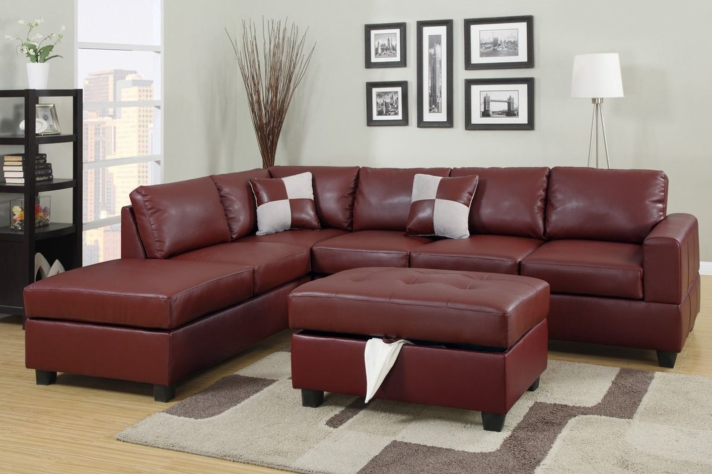 April Red Leather Sectional Sofa And Ottoman – Steal A Sofa Regarding Red Leather Sectional Couches (View 7 of 10)