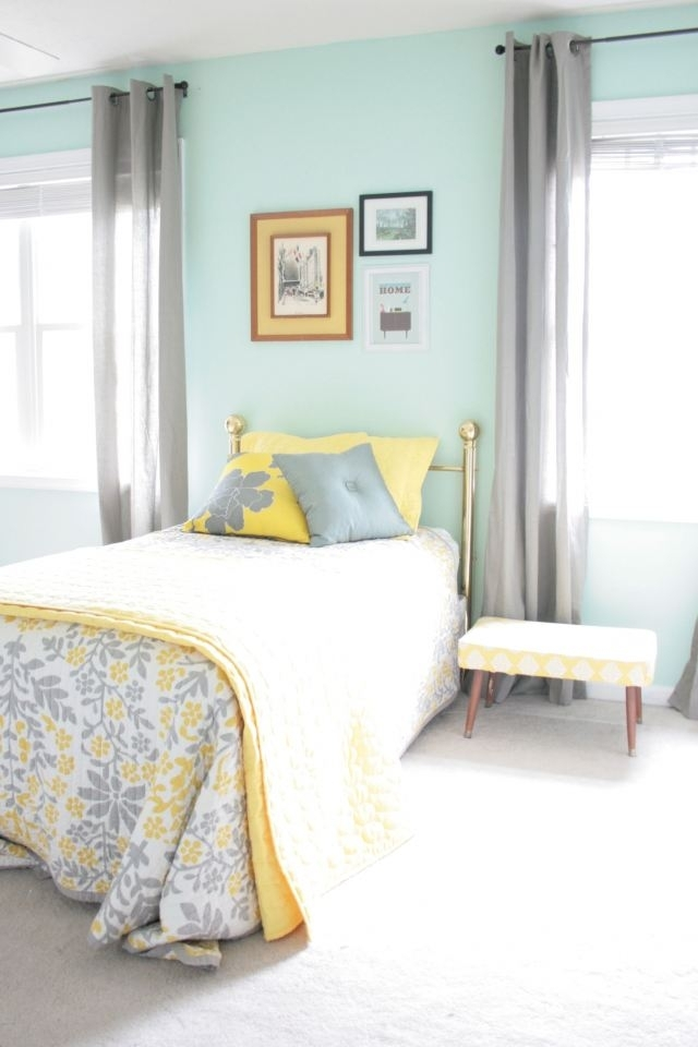 Aqua, Grey And Yellow This Is Legitimately My Room (View 6 of 15)