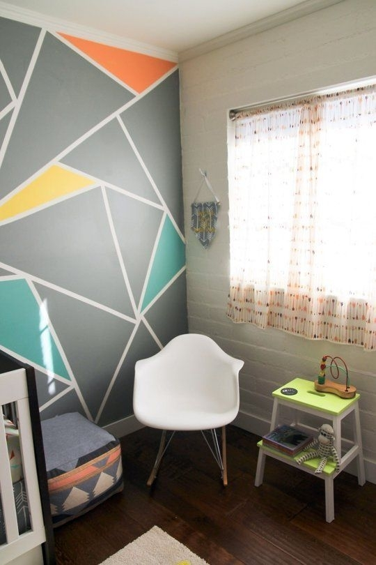 Archer's Colorful Nursery With Geometric Elements | Nursery, Walls For Geometric Shapes Wall Accents (View 4 of 15)