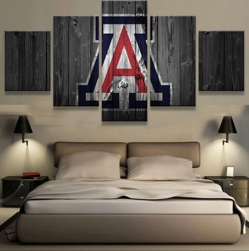 Arizona Wildcats College Basketball Team Logo 5 Piece Canvas Wall Inside Arizona Canvas Wall Art (View 15 of 15)