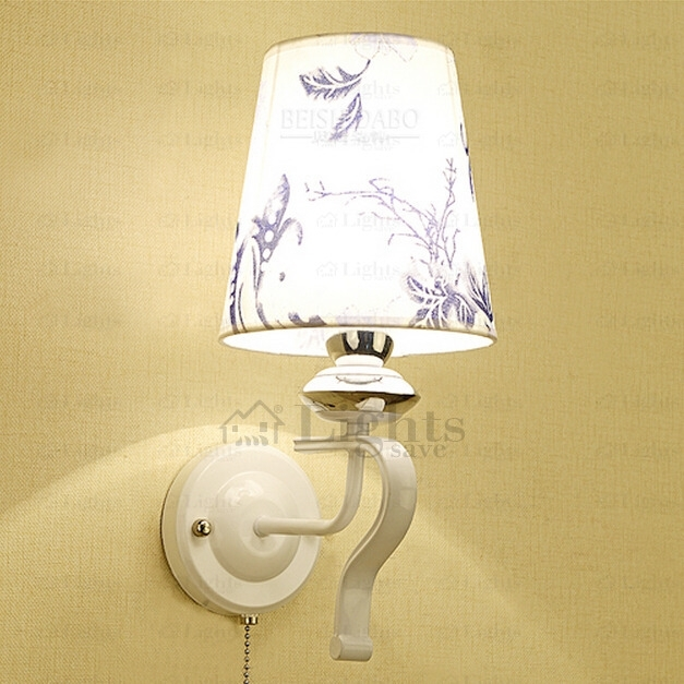 Art Deco Wall Sconce With Patterned Fabric Shade With Art Deco Wall Fabric (Image 3 of 15)