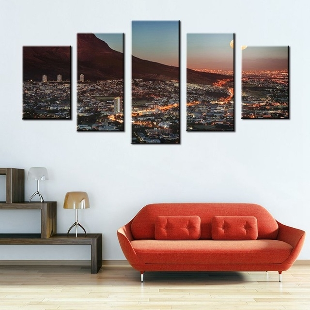 Art Gallery Painting Cape Town Mountain With Moon South Africa intended for Cape Town Canvas Wall Art