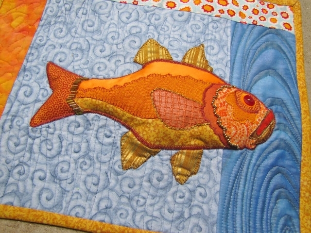 Art Quilt, Fish – Textile Art Wall Hanging Within Hanging Textile Wall Art (Image 4 of 15)