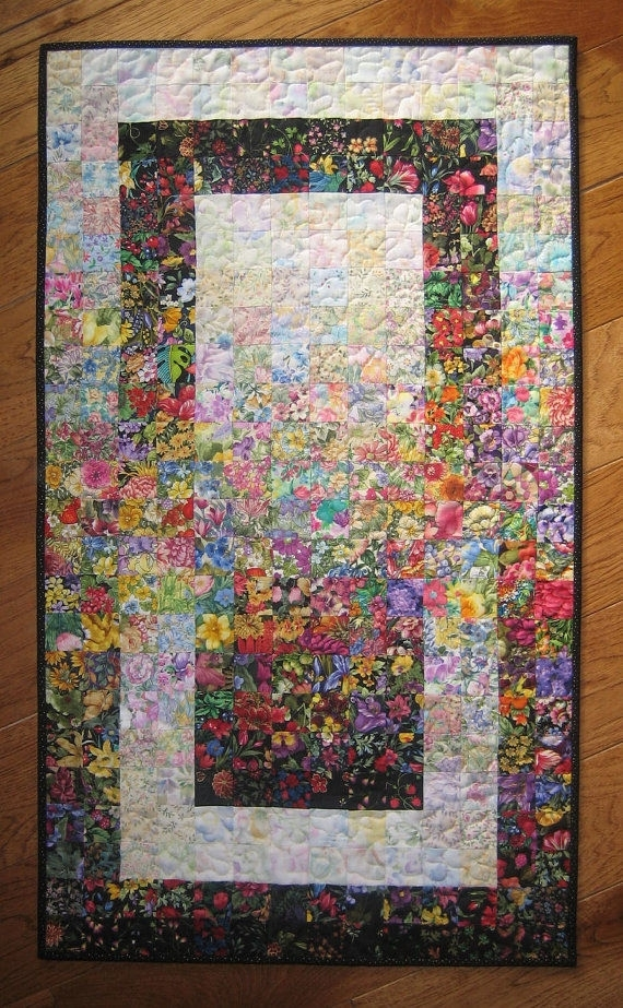 Art Quilt, Garden Window Watercolor Colorwash Fabric Wall Hanging Throughout Quilt Fabric Wall Art (Image 6 of 15)