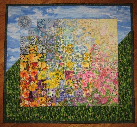 Art Quilt Spring Sunshine Garden Flowers Fabrictahoequilts Intended For Quilt Fabric Wall Art (Image 5 of 15)