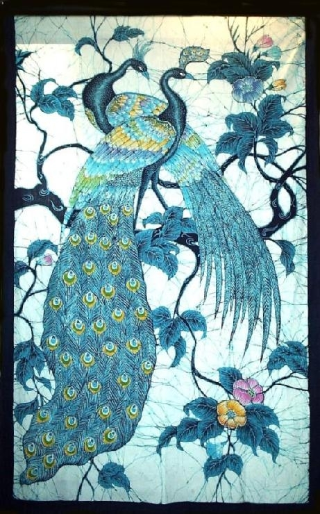 Art/wall Decor – Batik Wall Hanging Peacocks In Tree Hand Made Regarding Batik Fabric Wall Art (Image 6 of 15)