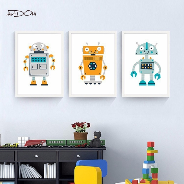 Artdom No Framed Nordic Modern Cartoon Robot Posters And Prints For Robot Canvas Wall Art (Image 2 of 15)