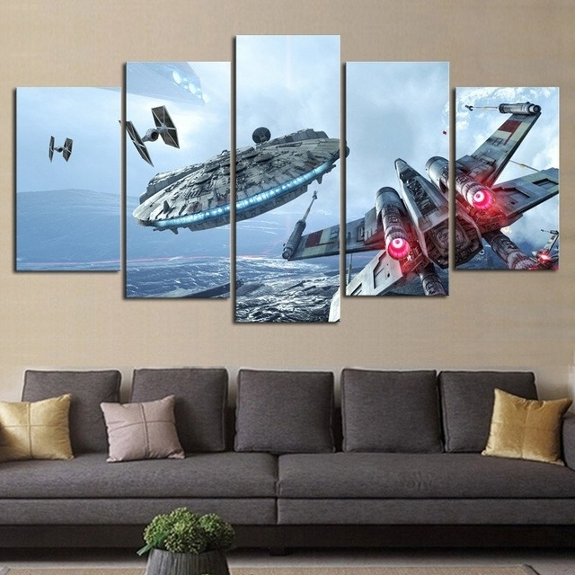 Artryst Hd Print 5 Pcs Canvas Wall Art Millennium Falcon X Wing In Modern Canvas Wall Art (View 15 of 15)