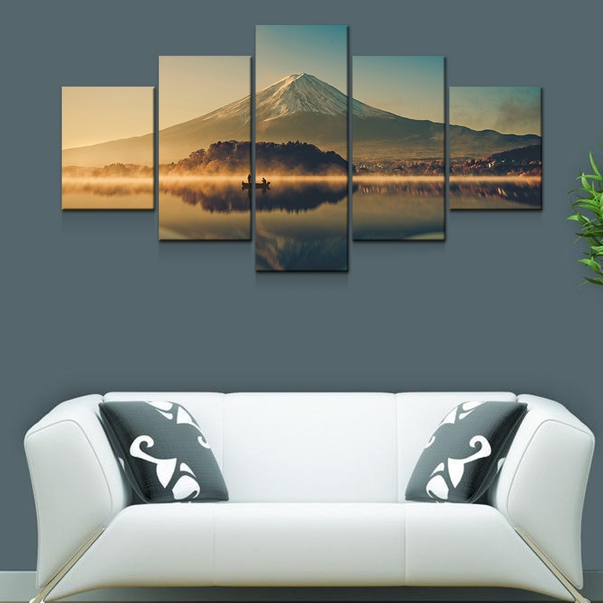 Artryst Large Canvas Wall Art 5 Panel Modern Painting And Prints With Japanese Canvas Wall Art (Image 4 of 15)