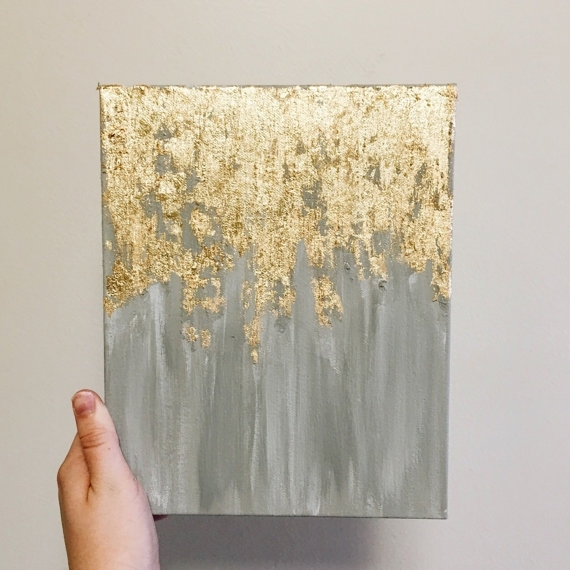 As Seen In Hgtv Magazine, Gold Leaf Painting, Multiple Sizes Within Abstract Leaves Wall Art (Image 4 of 15)