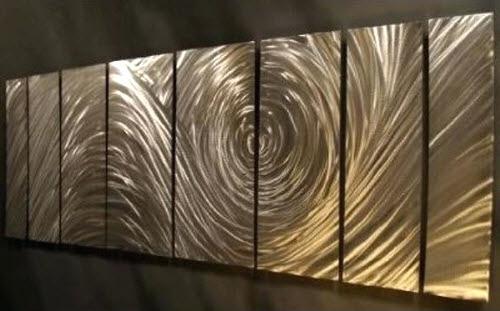 Ash Carl Metal Art Ash Carl Forever 7 Panel Abstract Metal Wall Regarding Abstract Metal Wall Art Panels (View 14 of 15)