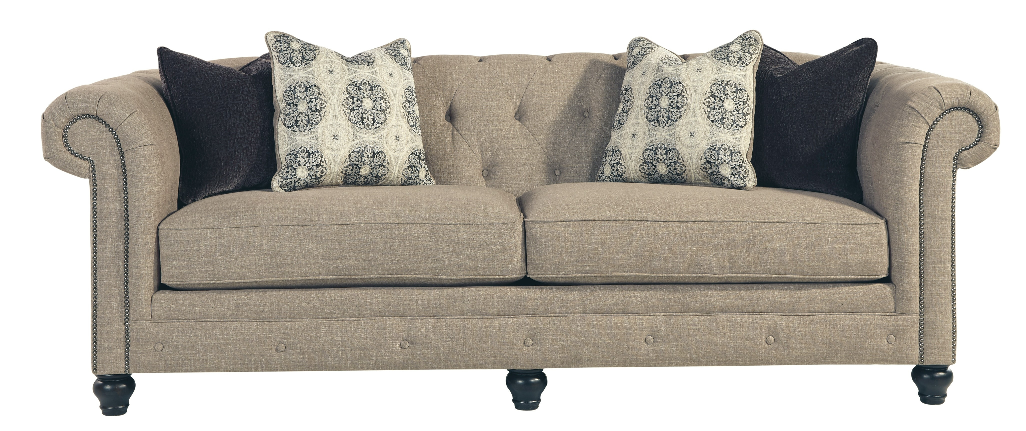 Ashley 9940238 Azlyn Tufted Back Sofa With Sepia Tone Fabric Uphostery Intended For Ashley Tufted Sofas (Image 2 of 10)