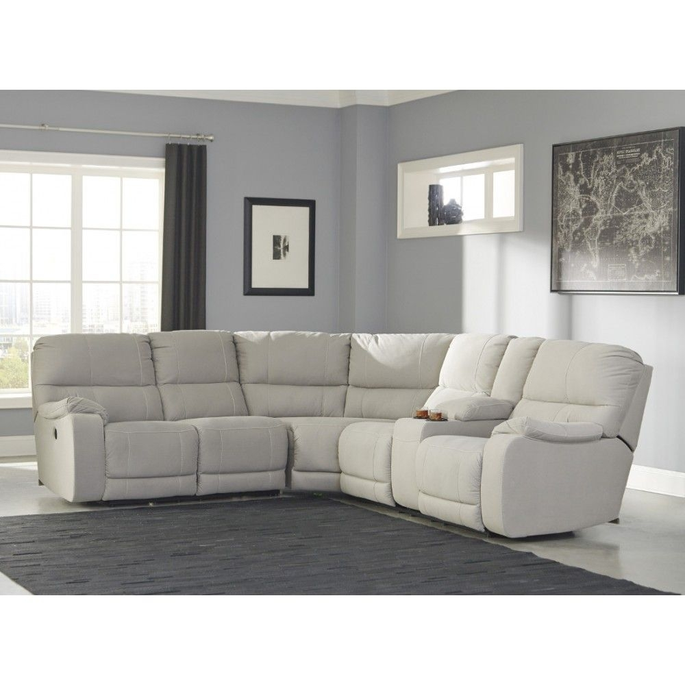 Ashley Furniture Bohannon Reclining Power Sectional In Putty | Space For Eau Claire Wi Sectional Sofas (View 8 of 10)