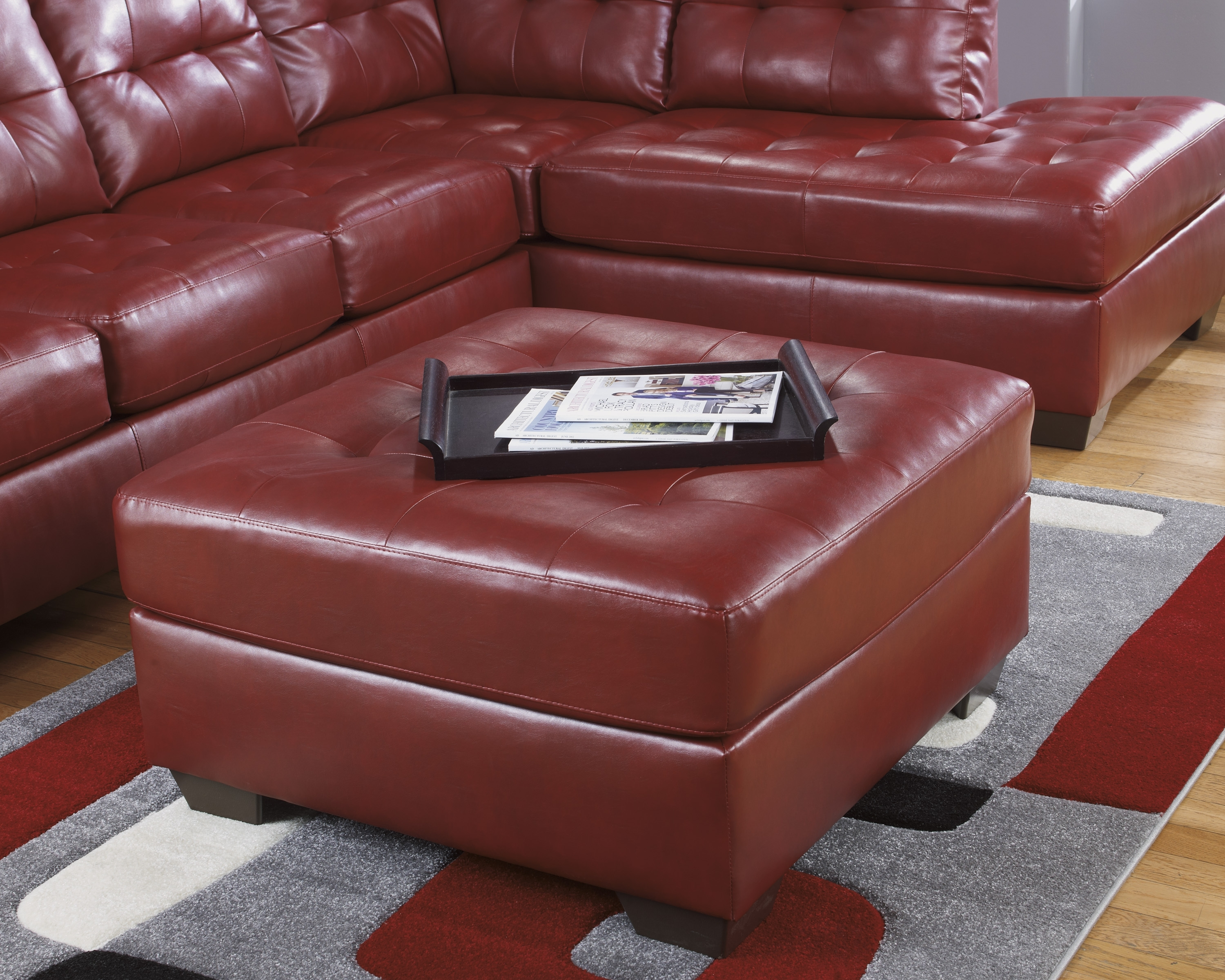 Ashley Furniture Leather Sectionals, Ashley Furniture Sofa Sleepers With Regard To Red Leather Sectional Sofas With Ottoman (Image 3 of 10)