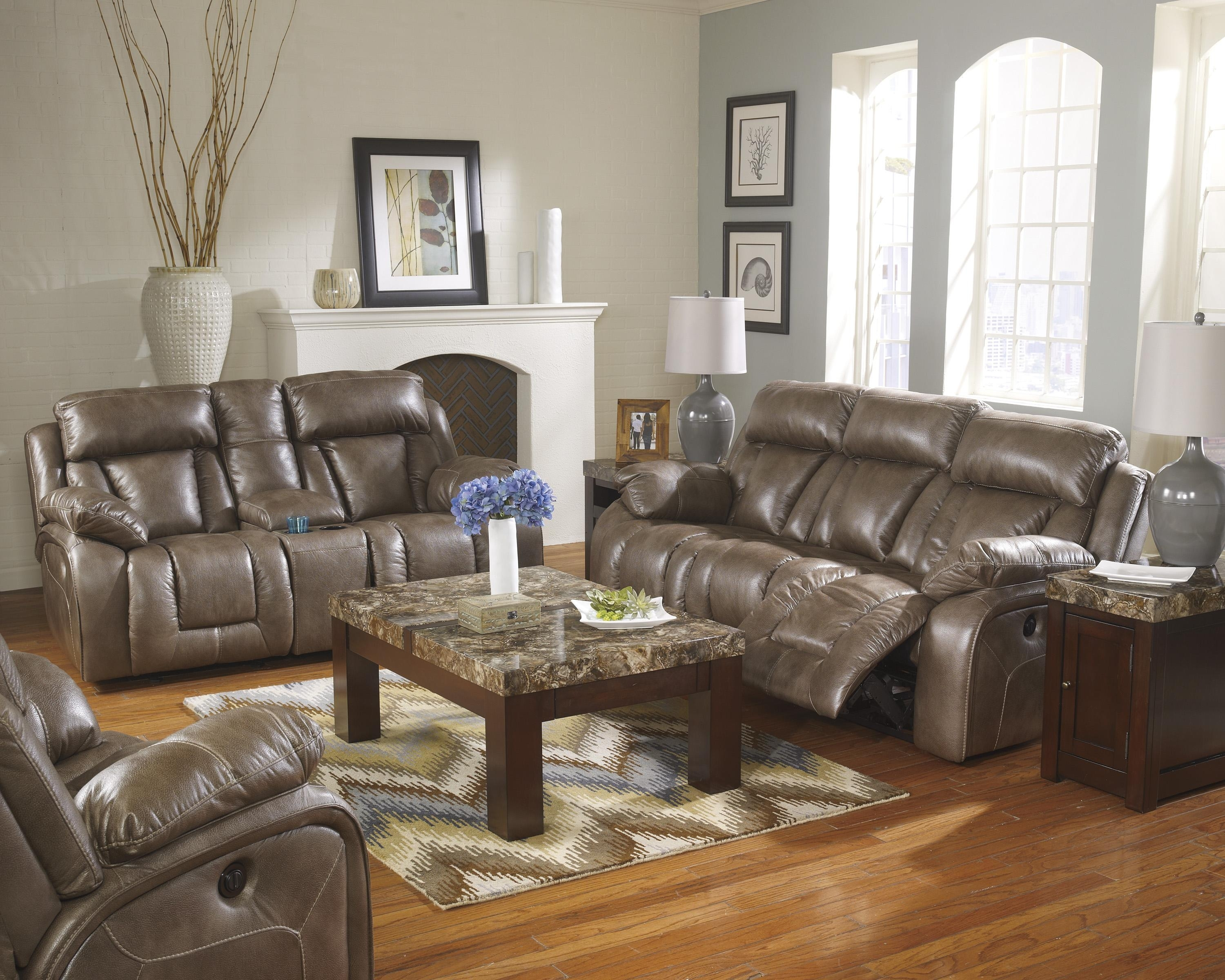 Ashley Furniture Loral – Sable Reclining Living Room Group – Ahfa Regarding Quincy Il Sectional Sofas (View 10 of 10)