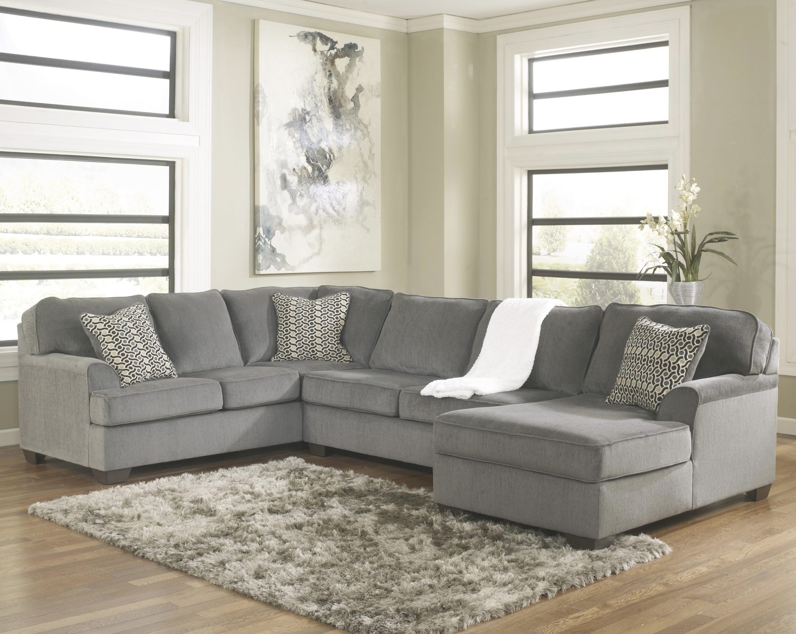 Ashley Furniture Loric – Smoke Contemporary 3 Piece Sectional With Regarding Green Bay Wi Sectional Sofas (Image 3 of 10)