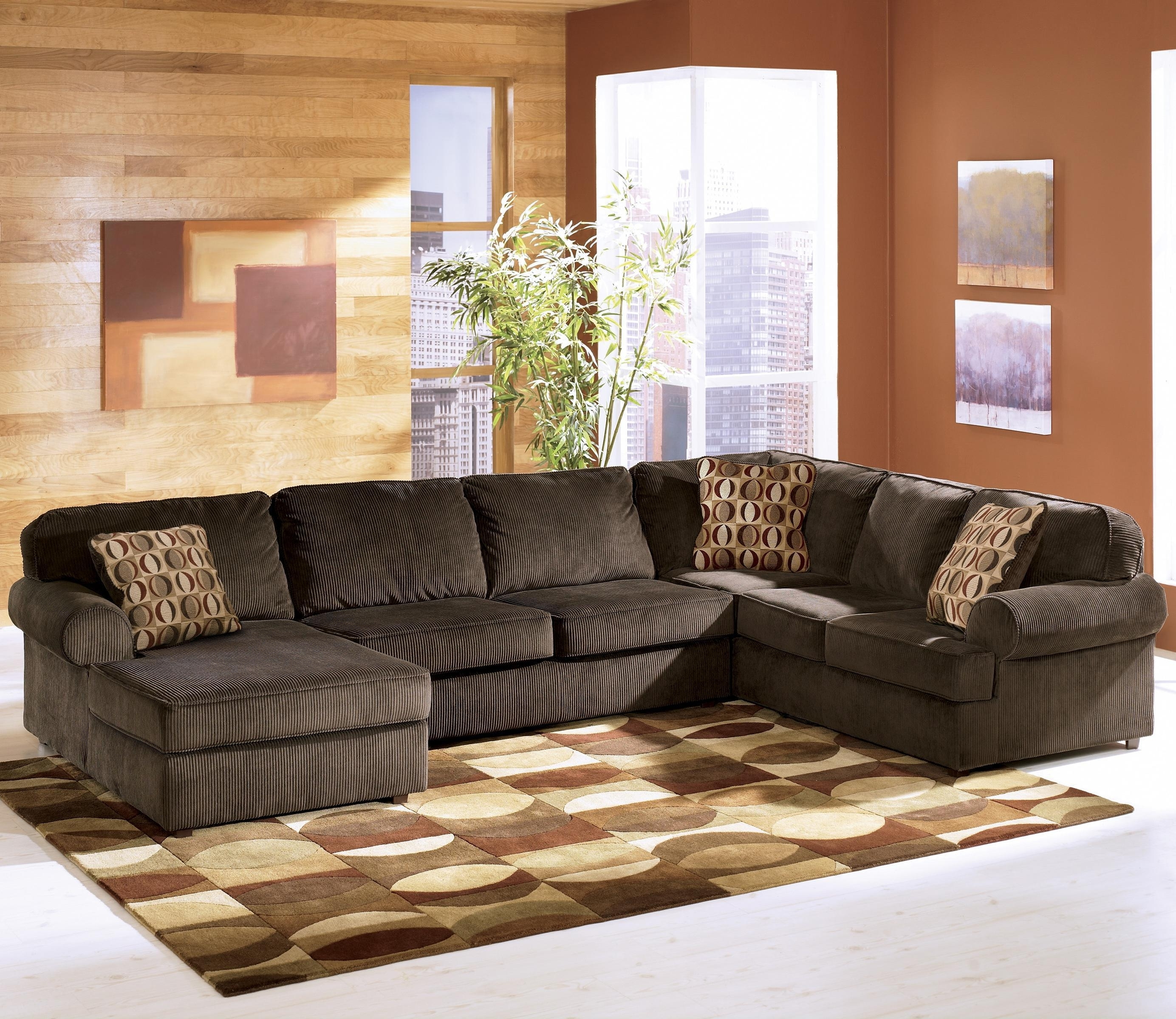 Ashley Furniture Vista - Chocolate Casual 3-Piece Sectional With for Evansville in Sectional Sofas