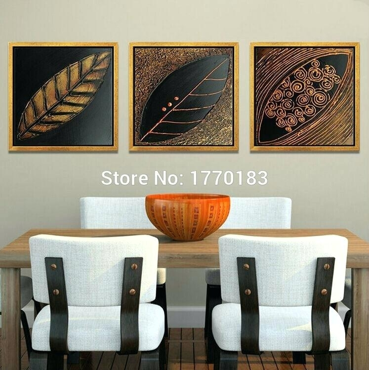 Asian Canvas Wall Art 3 Panels Hand Made Dry Leaves Canvas Art For Leaves Canvas Wall Art (Image 2 of 15)