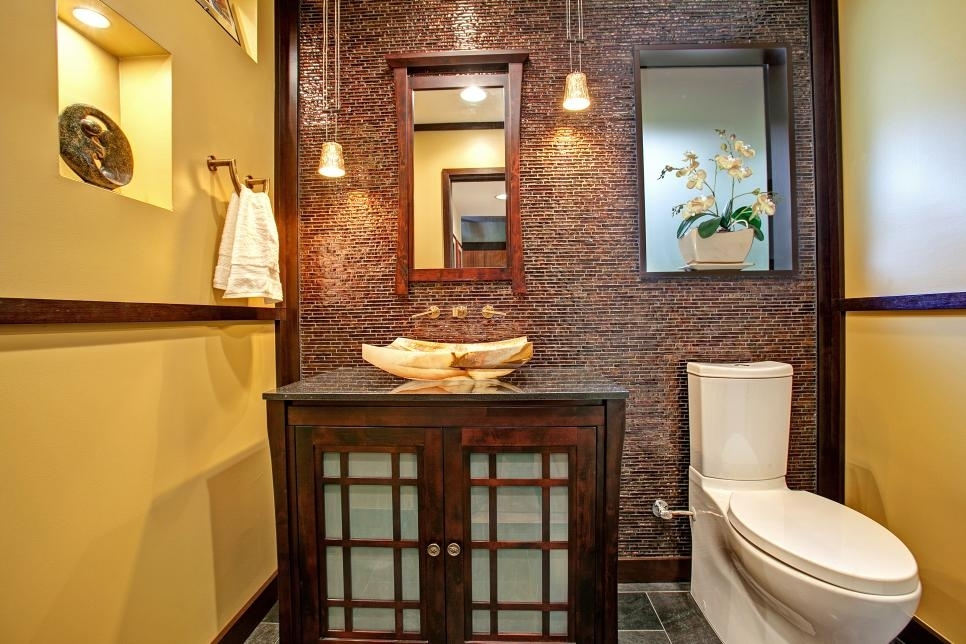 Asian Inspired Powder Room With Tile Accent Wall | Jackson Design Inside Asian Wall Accents (View 12 of 15)